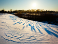 Snow covered riverside during sunset - PhotoDune Item for Sale