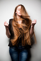 Girl posing with long flowing hair - PhotoDune Item for Sale