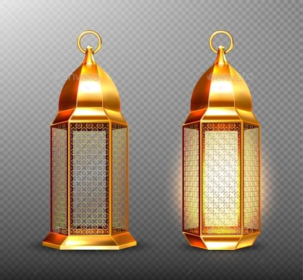 Arabic Lamps, Gold Arab Lanterns with Ornament