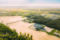 Aerial View Modern Granary, Grain-drying Complex, Commercial Grain Or Seed Silos In Sunny Spring - PhotoDune Item for Sale