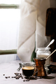 Fresh coffee in glass cup - PhotoDune Item for Sale