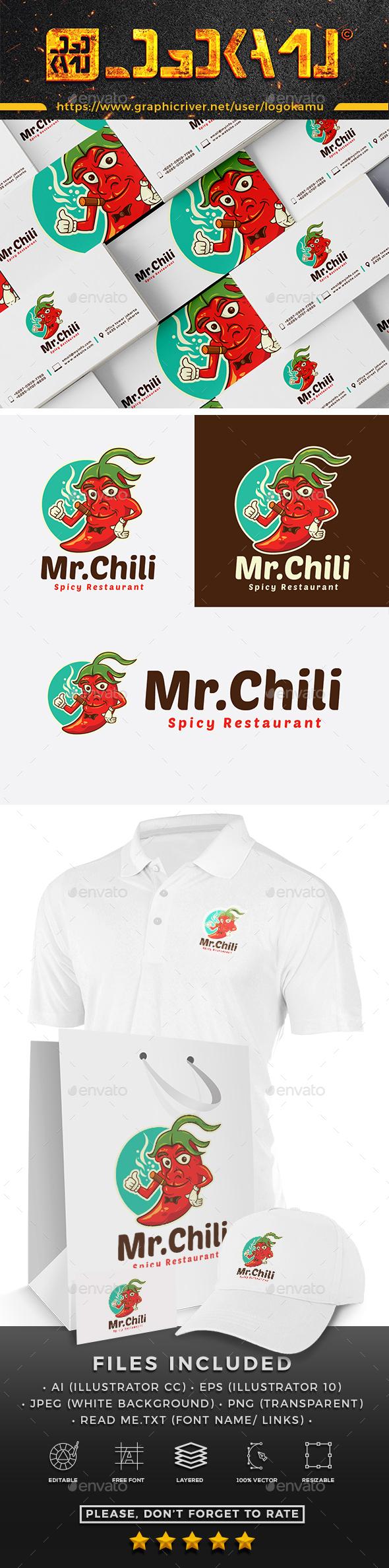 Mr Chili Cartoon Logo