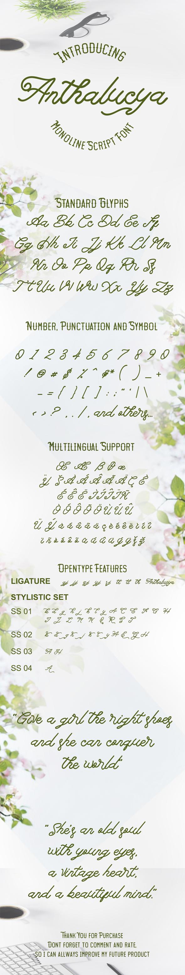 Anthalucya Monoline Script Font