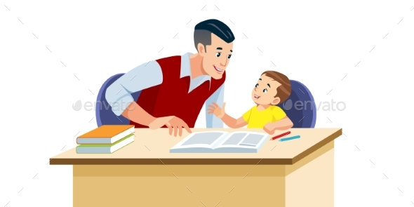 Father Helps His Son To Do Homework in School.