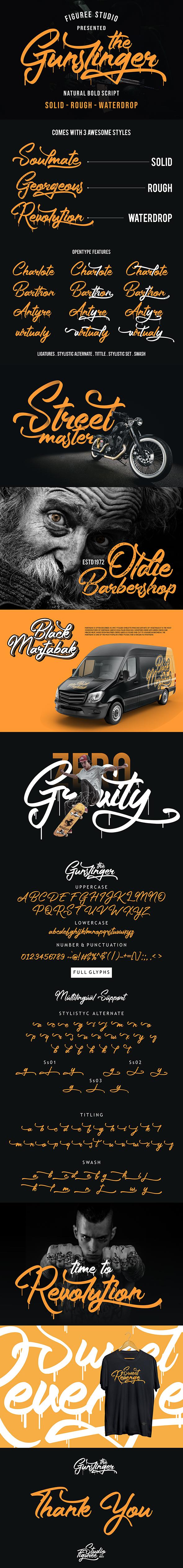 The Gunslinger - 3 Style Fonts