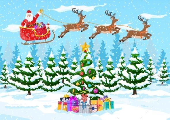 Christmas Tree Santa Claus with Reindeer Sleigh