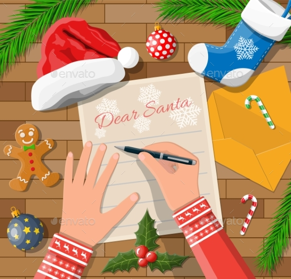 Child Hand Pen Writing Letter To Santa Claus.