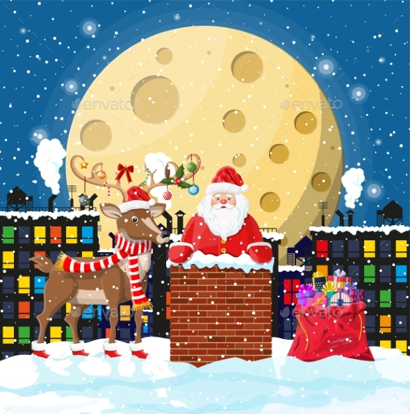 Santa Claus with Bag with Gifts in House Chimney