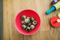 Healthy quail eggs on kitchen table - PhotoDune Item for Sale