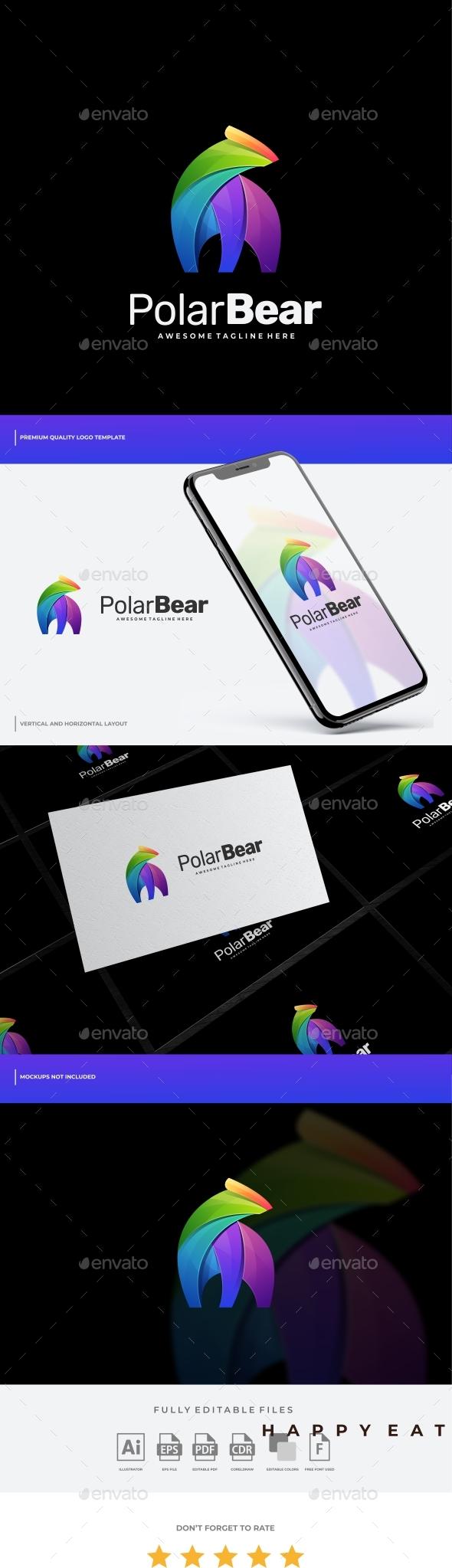 Polar Bear Gradient Colorful Logo Template