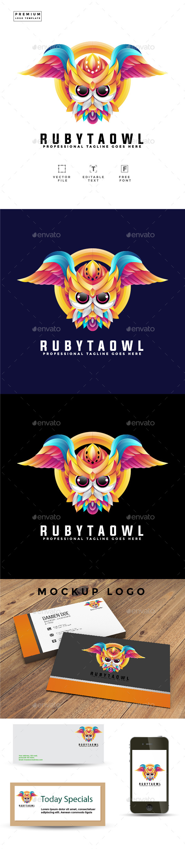 Owl Logo Template Colorful