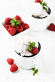 Sweet summer ice cream with raspberry on the white stone background - PhotoDune Item for Sale