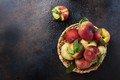 Top down view of sweet peaches with green leaves - PhotoDune Item for Sale