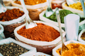 Close View Of Masala Curry, Bright Colors Fragrant Seasoning, Condiment In Bags On Local Food Market - PhotoDune Item for Sale