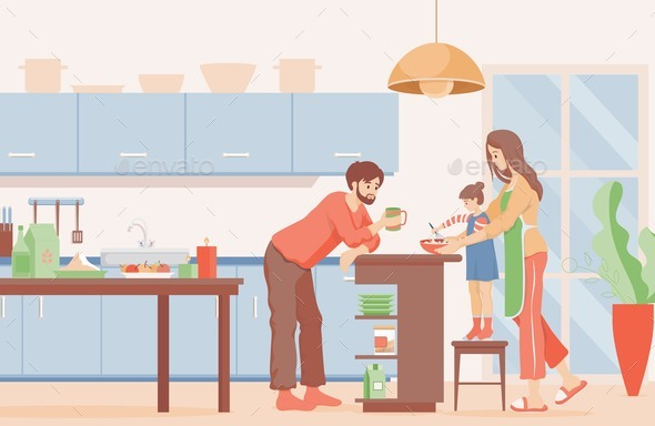 Family Time Vector Flat Illustration. Mother