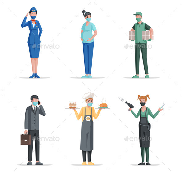 Different Professions Vector Flat Concept. Airport