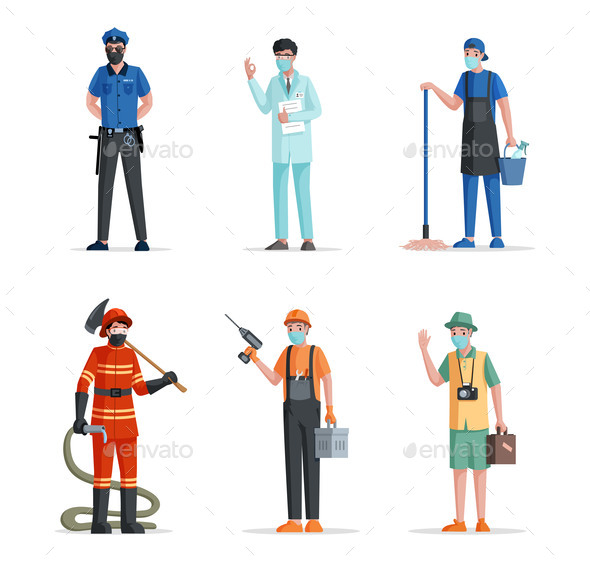 Group of People of Different Professions. Police