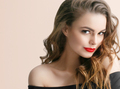 Beautiful woman with long hair and red lipstick lips beauty female portrait - PhotoDune Item for Sale