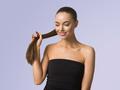 Woman skin care hair long beauty brunette hair natural skin make up blue background female portrait - PhotoDune Item for Sale
