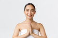 Beauty, cosmetology and spa salon concept. Tender asian girl in towel smiling friendly camera and - PhotoDune Item for Sale