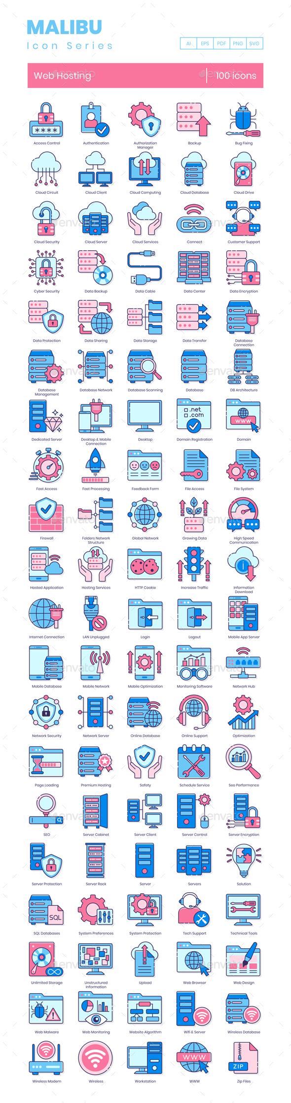 100 Web Hosting Icons - Malibu Series