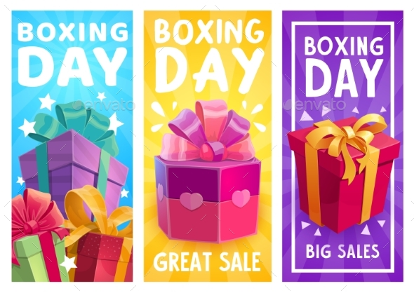 Boxing Day Vector Presents, Great Sale Promo Gifts