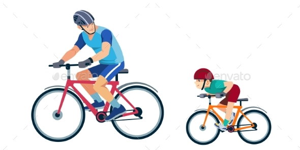Father Teaches Son To Ride a Bike. Kid Learns