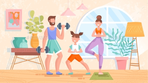 Fit Healthy Young Family Training or Exercising