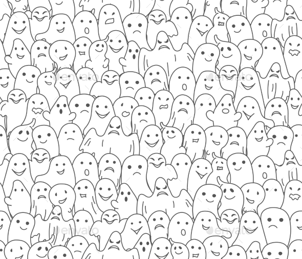 Halloween Background Seamless Pattern with Ghosts