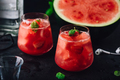 Glasses of cool watermelon and strawberry cocktail - PhotoDune Item for Sale