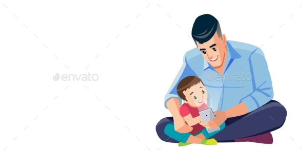 Father and Son Taking Selfie Cartoon Isolated