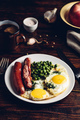 Breakfast with fried eggs, sausages and green peas - PhotoDune Item for Sale