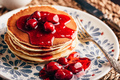 Stack of pancakes with dogwood berry marmalade - PhotoDune Item for Sale