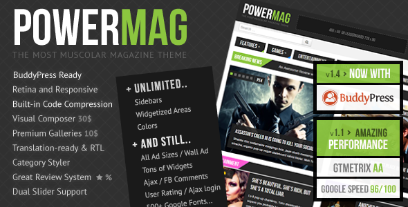 PowerMag: Bold Magazine and Reviews WordPress Theme
