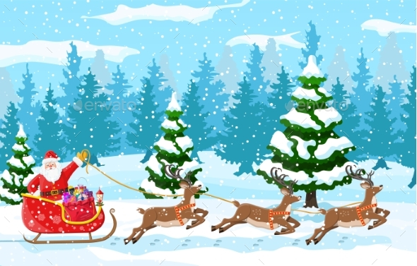 Christmas Santa Claus Rides Reindeer Sleigh.