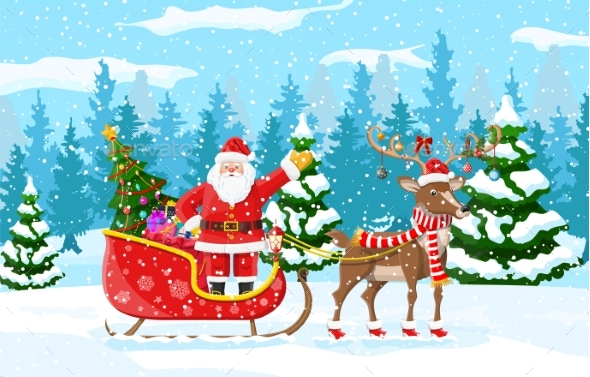 Christmas Santa Claus Rides Reindeer Sleigh