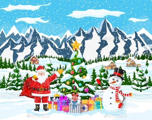 Christmas Background. Santa Claus with Bag Gifts