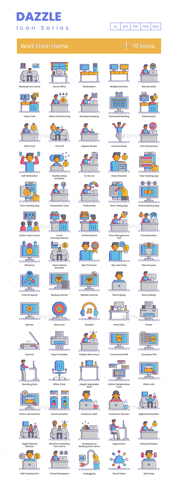 70 Work From Home Icons - Dazzle Series