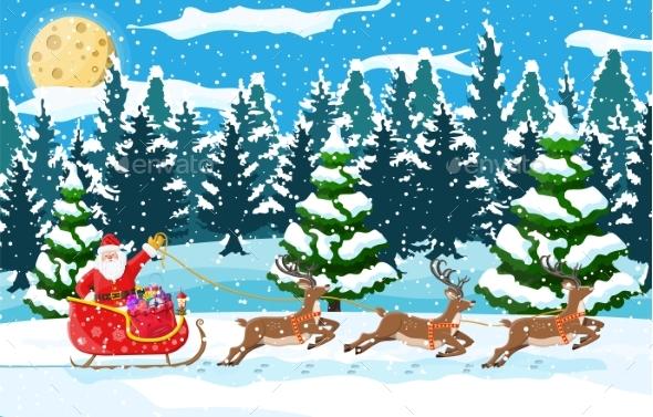 Christmas Landscape. Santa Rides Reindeer Sleigh