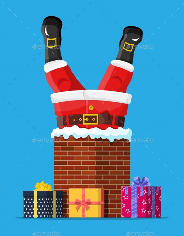 Santa Claus with Gifts Stuck in House Chimney.