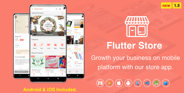 Flutter Store ( Ecommerce Mobile App for iOS & Android with same backend ) 1.5 Download
