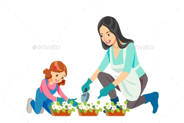 Mother and Daughter, Gardening Together Planting