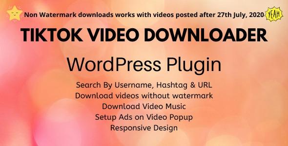 TikTok Video Downloader – WordPress PluginPrice : $25
