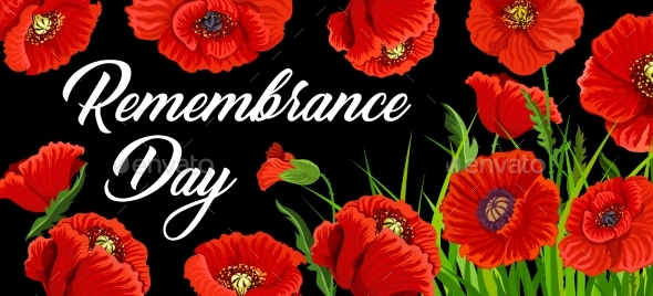 Remembrance Day Poster with Poppies Vector Card