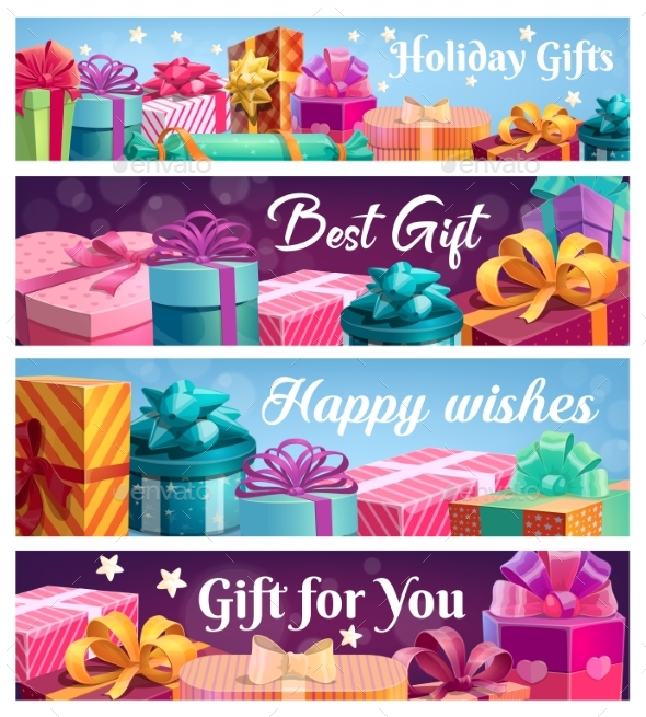 Festive Presents, Vector Gift Boxes with Ribbons