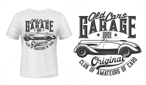 Retro Car Garage Station T-shirt Print Vector