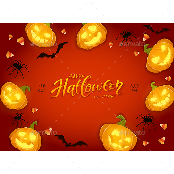 Halloween Background with Pumpkins and Candy