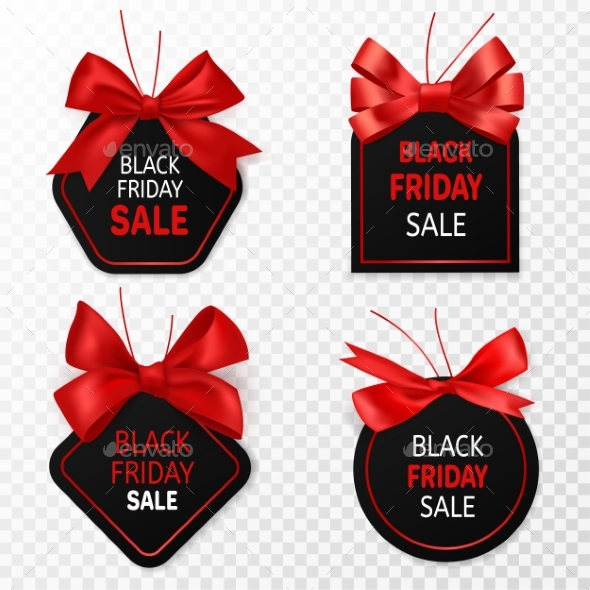 Black Friday Sale Labels. Black and Red Discount