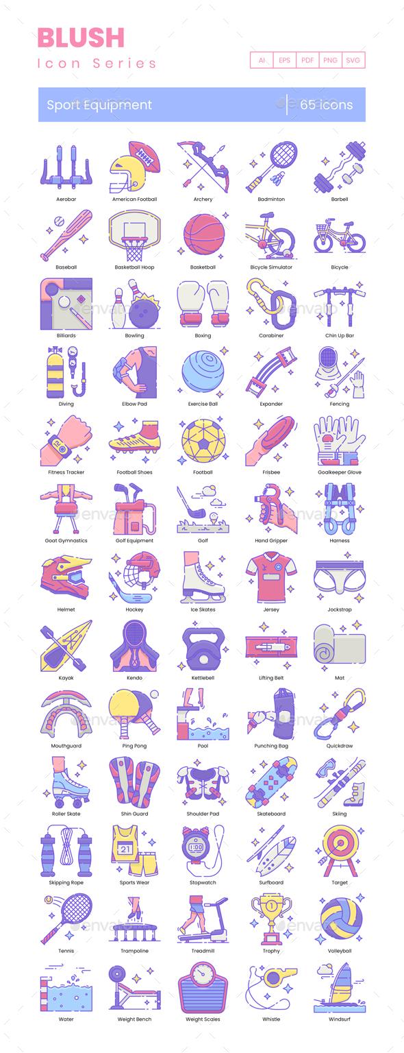 65 Sport Equipment Icons - Blush Series