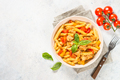 Pasta with chicken and vegetables at white table - PhotoDune Item for Sale